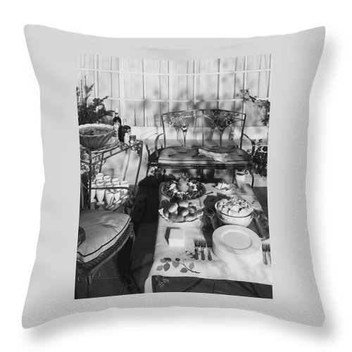 Exterior Throw Pillow featuring the photograph An Outdoor Dining Set Up by Haanel Cassidy