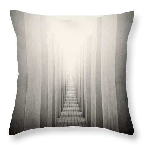 Analog Photography Throw Pillow featuring the photograph Analog Photography - Berlin Holocaust Memorial by Alexander Voss