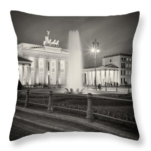 Analog Photography Throw Pillow featuring the photograph Analog Photography - Berlin Pariser Platz by Alexander Voss