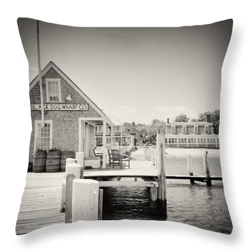 Analog Photography Throw Pillow featuring the photograph Analog Photography - Martha's Vineyard Black Dog Wharf by Alexander Voss