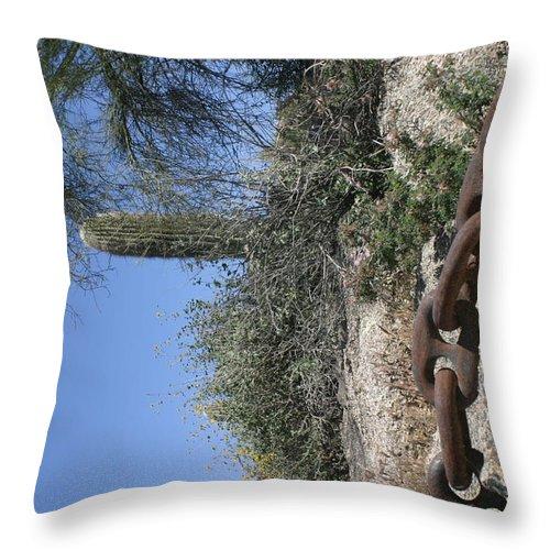 Anchor Chain Throw Pillow featuring the photograph Anchor Chain In The Desert by Steve Scheunemann