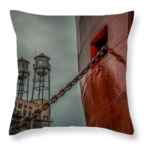 Ss William A Irvin Throw Pillow featuring the photograph Anchor Chain by Paul Freidlund