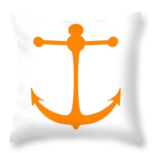 Graphic Art Throw Pillow featuring the digital art Anchor In Orange And White by Jackie Farnsworth