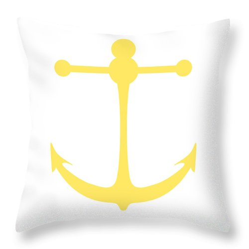 Graphic Art Throw Pillow featuring the digital art Anchor In Yellow And White by Jackie Farnsworth