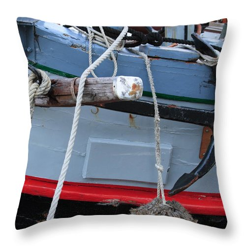 Anchor Throw Pillow featuring the photograph Anchor On An Old Wooden Sailing Ship by Ulrich Kunst And Bettina Scheidulin