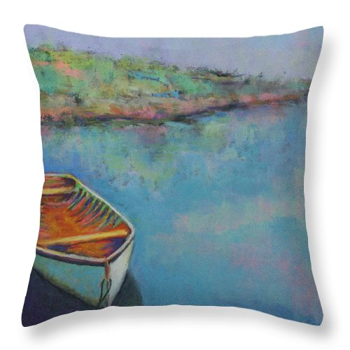 Boat Throw Pillow featuring the painting Anchored by Carol Jo Smidt