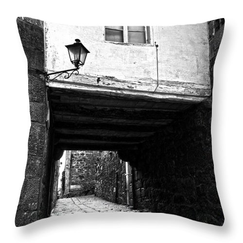Ancient Throw Pillow featuring the photograph Ancient Alley In Tui Bw by RicardMN Photography