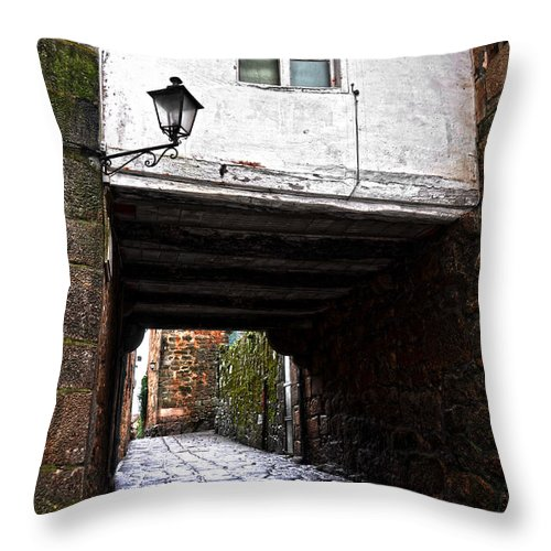 Ancient Throw Pillow featuring the photograph Ancient Alley In Tui by RicardMN Photography