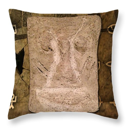 Artifact Poster Mixed Media Throw Pillow featuring the mixed media Ancient Artifact by Marvin Blaine