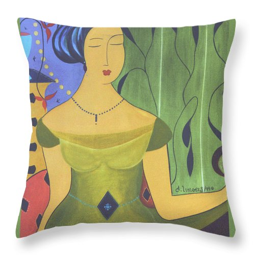#female Throw Pillow featuring the painting Ancient Beauty by Jacquelinemari