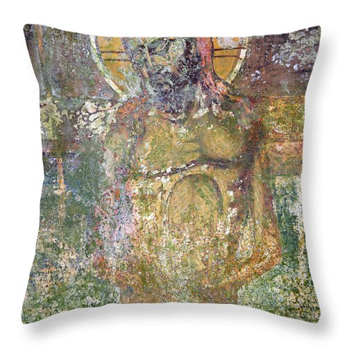 Christ Throw Pillow featuring the photograph Ancient Christ Icon by Neil Overy