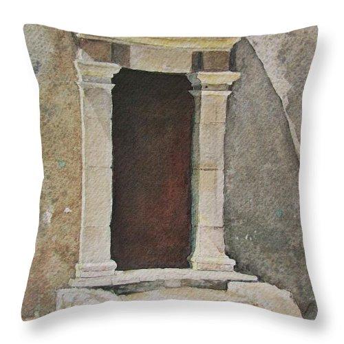 Antique Doorway Throw Pillow featuring the painting Ancient Doorway by Mary Ellen Mueller Legault
