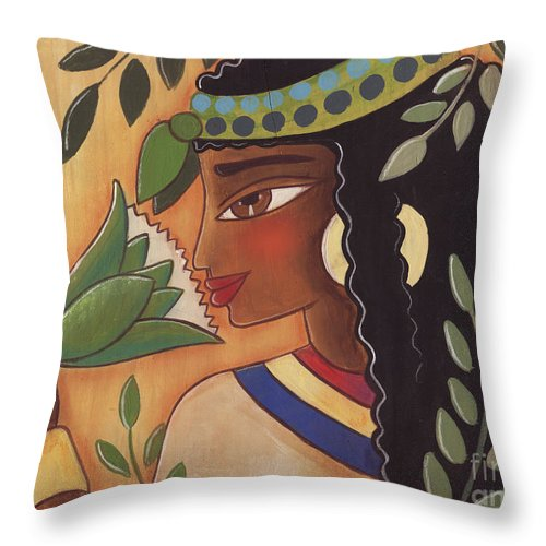 Ancient Egyptian Throw Pillow featuring the painting Ancient Egyptian Belle by Elaine Jackson