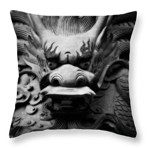 Hong Kong Throw Pillow featuring the photograph Ancient Guardian by Venetta Archer