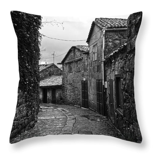 Ancient Throw Pillow featuring the photograph Ancient Street In Tui Bw by RicardMN Photography