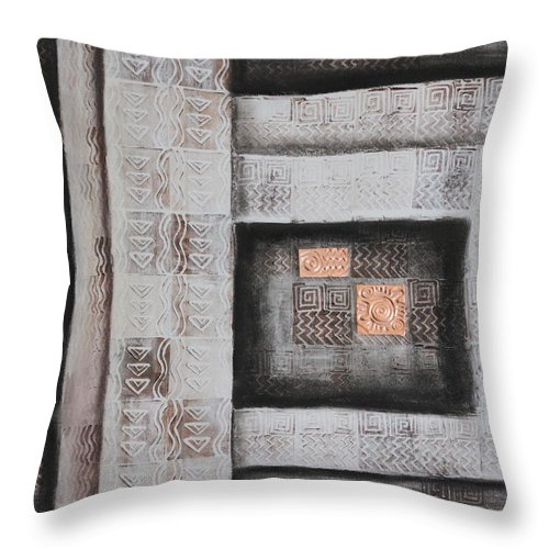 Ancient Throw Pillow featuring the mixed media Ancient Treasury by Diana Perfect