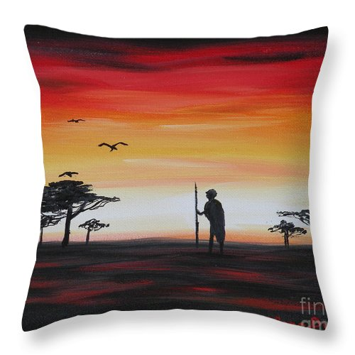 Africa Throw Pillow featuring the painting Ancient Warrior by Lora Duguay