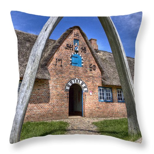 Countryhouse Throw Pillow featuring the photograph Ancient Whale's Jawbones Gate by Heiko Koehrer-Wagner