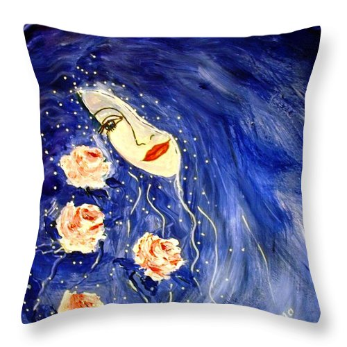 Love Throw Pillow featuring the painting And Her Love Grows... by Robin Monroe