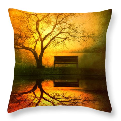 Bench Throw Pillow featuring the photograph And I Will Wait For You Until the Sun Goes Down by Tara Turner
