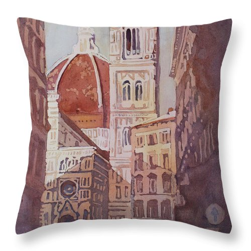Duomo Campainula Throw Pillow featuring the painting And Suddenly The Duomo by Jenny Armitage