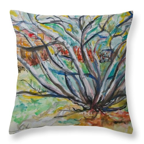 Bush Throw Pillow featuring the painting And The Bush Was Not Consumed by Esther Newman-Cohen