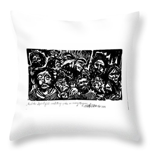 And The Spirit Fell Throw Pillow featuring the relief And The Spirit Fell by Seth Weaver