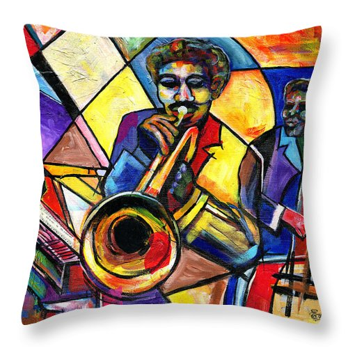 Everett Spruill Throw Pillow featuring the painting And Then There Was Da Blues by Everett Spruill