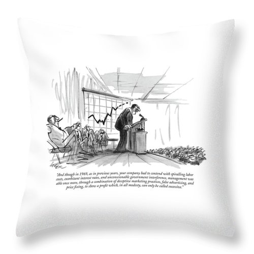 (c.e.0. Addressing Auditorium Of Stock-holders.) Business Throw Pillow featuring the drawing And Though In 1969 by Lee Lorenz