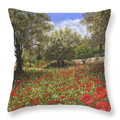Landscape Throw Pillow featuring the painting Andalucian Poppies by Richard Harpum