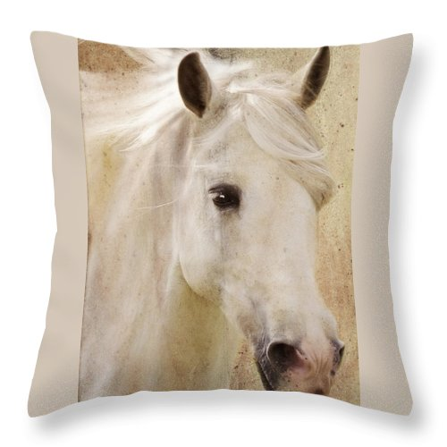 White Stallion Throw Pillow featuring the photograph Andalusian Dreamer by Melinda Hughes-Berland