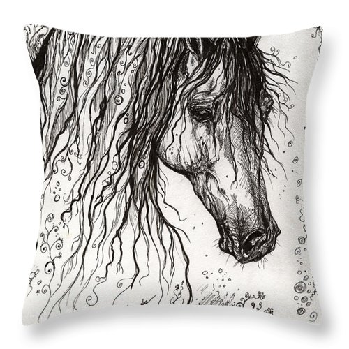 Horse Throw Pillow featuring the drawing Andalusian Horse Drawing 2 by Angel Ciesniarska