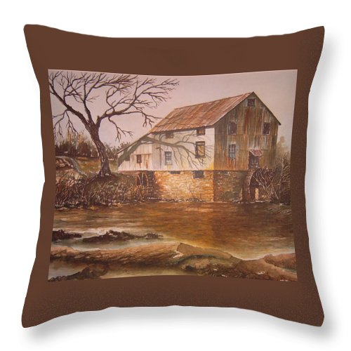 Landscape Throw Pillow featuring the painting Anderson Mill by Ben Kiger
