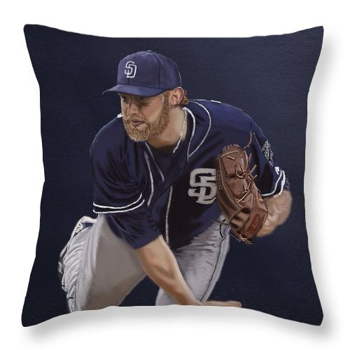 Andrew Cashner Throw Pillow featuring the digital art Andrew Cashner by Jeremy Nash