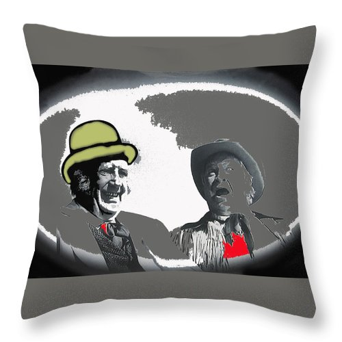 Andy Devine Chill Wills Old Tucson Arizona John Wayne John Ford Stagecoach Vignetted Color Added Throw Pillow featuring the photograph Andy Devine Chill Wills Old Tucson Arizona 1971-2008 by David Lee Guss