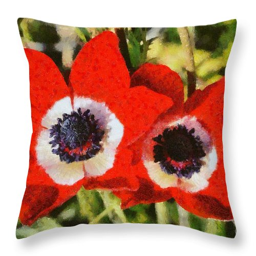 Crown Anemone; Poppy Anemone; Anemone Coronaria; Red; Anemones; Flower; Flowers; Wild; Plant; Spring; Springtime; Season; Nature; Natural; Natural Environment; Natural World; Flora; Bloom; Blooming; Blossom; Blossoming; Color; Colour; Colorful; Colourful; Earth; Environment; Ecological; Ecology; Country; Landscape; Countryside; Scenery; Macro; Close-up; Close Up; Detail; Details; Aesthetics; Esthetics; Artistic; Beautiful; Beauty; Outdoor; Outside; Horizontal; Paint; Painting; Paintings Throw Pillow featuring the painting Anemones by George Atsametakis