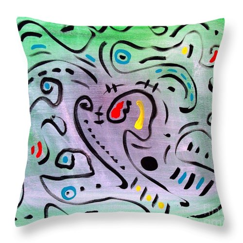 Abstract Throw Pillow featuring the painting Angel Among Thieves by Venus