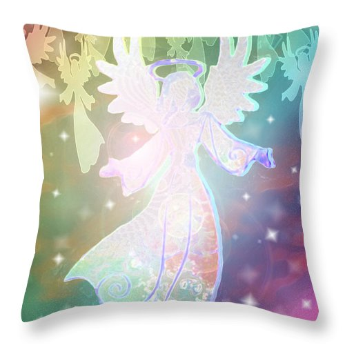 Angel Announcement Throw Pillow featuring the mixed media Angel Announcement 2 by E B Schmidt