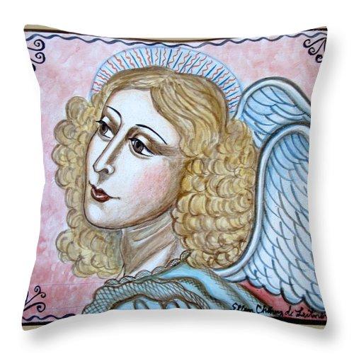 Angel Throw Pillow featuring the painting Angel De La Paz by Ellen Chavez de Leitner