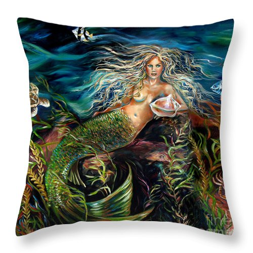 Mermaid Throw Pillow featuring the painting Angel Eyes by Linda Olsen