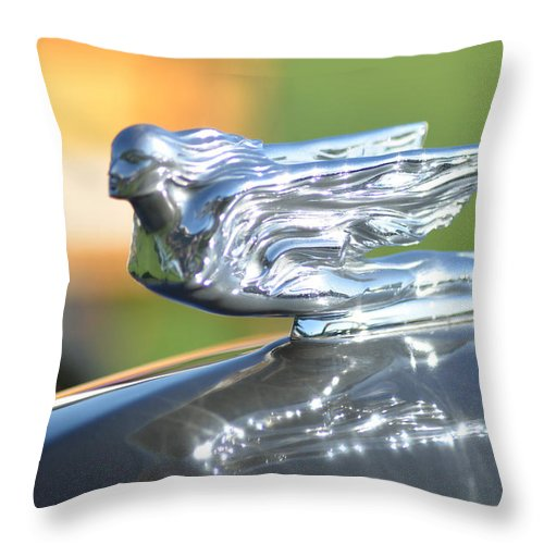 Hood Ornament Throw Pillow featuring the photograph Angel Flight by Lorraine Harrington