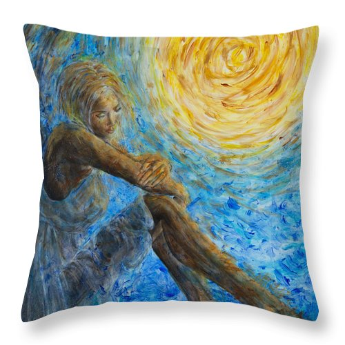 Angel Throw Pillow featuring the painting Angel Moon II by Nik Helbig