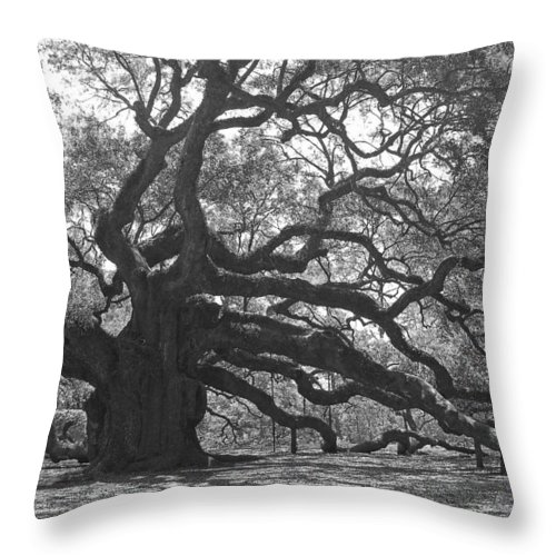 Black And White Throw Pillow featuring the photograph Angel Oak II - Black and White by Suzanne Gaff