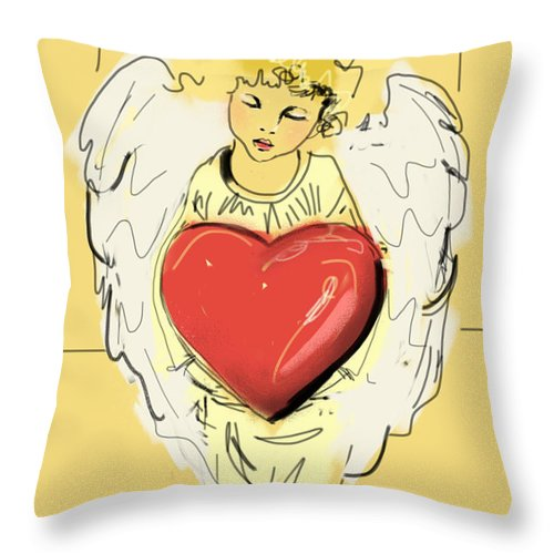 Angel Throw Pillow featuring the painting Angel Red Heart by Go Van Kampen