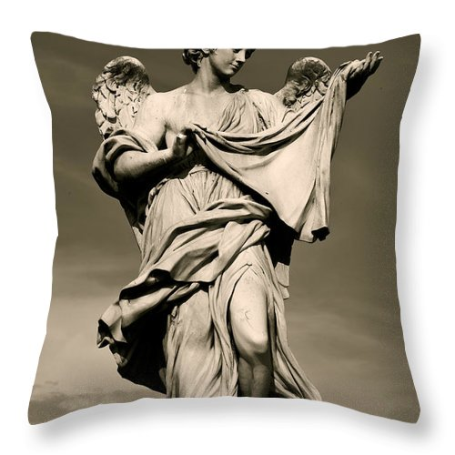 Angel Throw Pillow featuring the photograph Angel Statue by Brian Jannsen