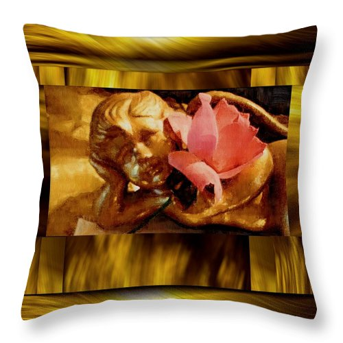 Angel Throw Pillow featuring the mixed media Angel With Floral On Clouds by Pepita Selles