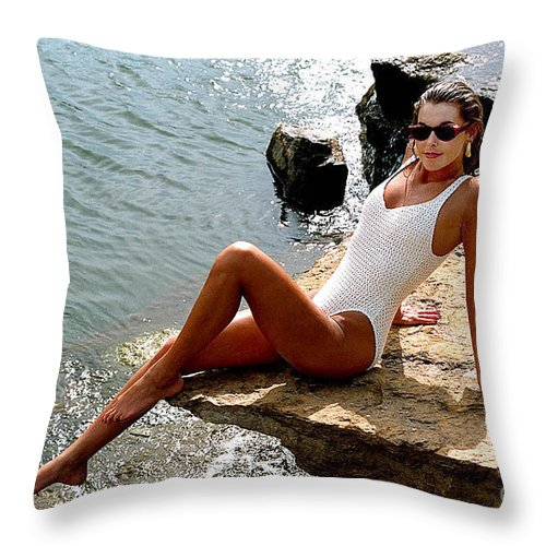 Model Throw Pillow featuring the photograph Angelawhiterock-b by Gary Gingrich Galleries