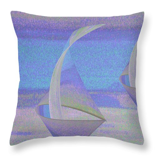 Abstract Throw Pillow featuring the digital art Angelfish3 by Stephanie Grant