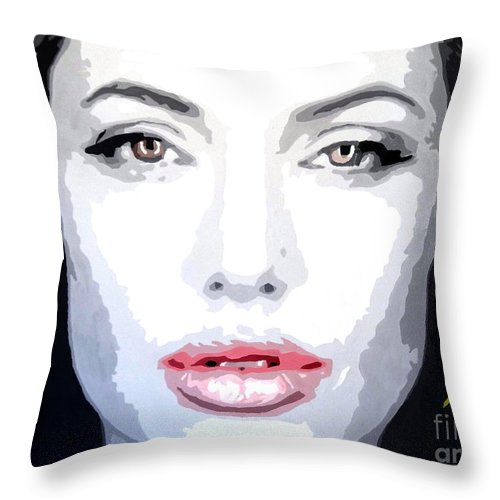 Angelina Throw Pillow featuring the painting Angeline Jolie by Hussein El Kaissy