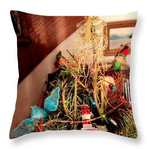 Christmas Throw Pillow featuring the photograph Angels Bird And Elves Oh My by Carol Estes
